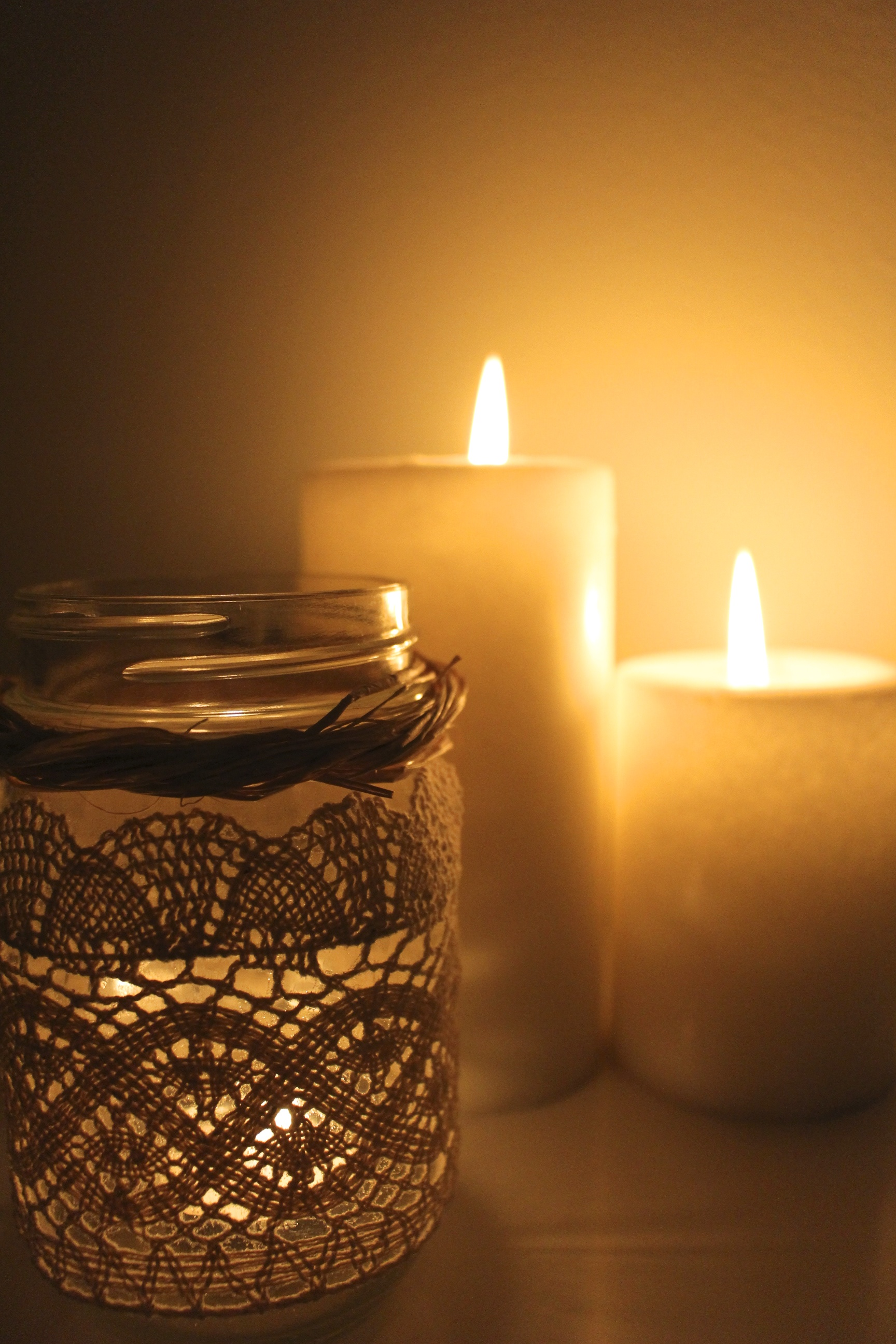 Laced Mason Jar Candles