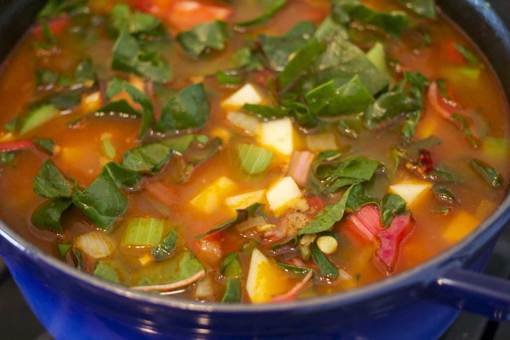 Green Lentil Soup With Swiss Chard