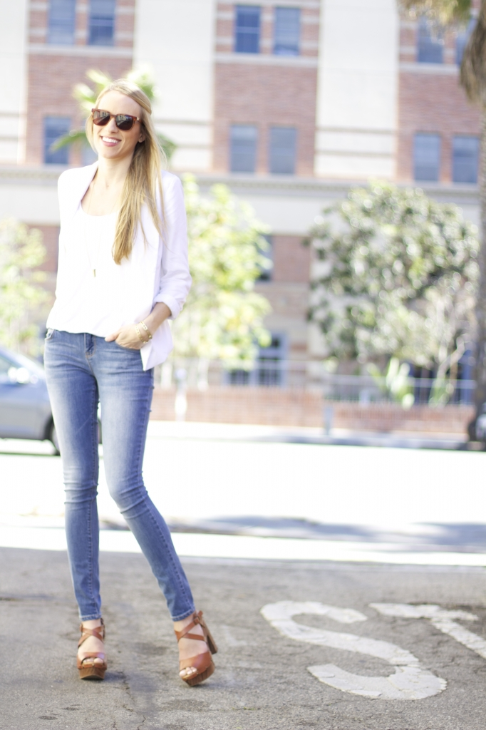 Light Denim + White Blazer
