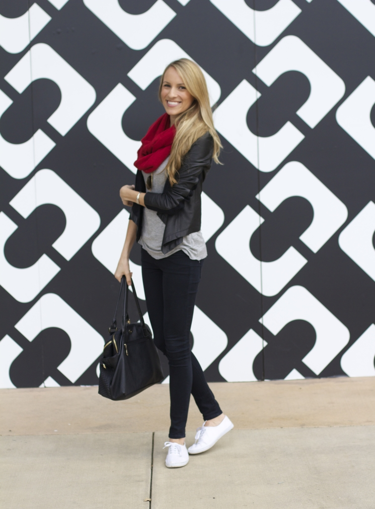 Leather Jacket & Red Infinity Scarf
