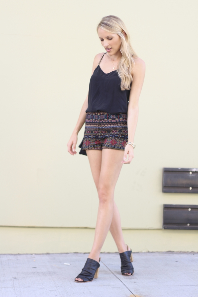 Transition To Fall - Jewel Toned Shorts + Leather Mules