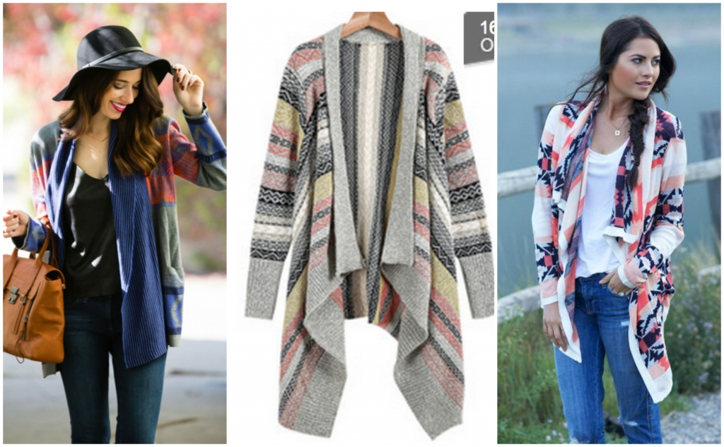 Sheinside Light Grey Long Sleeve Tribal Print Knit Cardigan