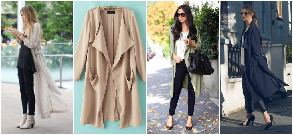 Sheinside Beige Long Sleeve Pockets Loose Trench Coat