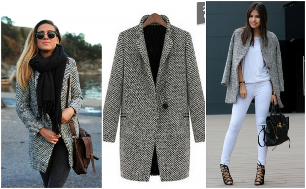 Sheinside Black White Notch Stand Collar Long Sleeve Oversize Houndstooth Coat