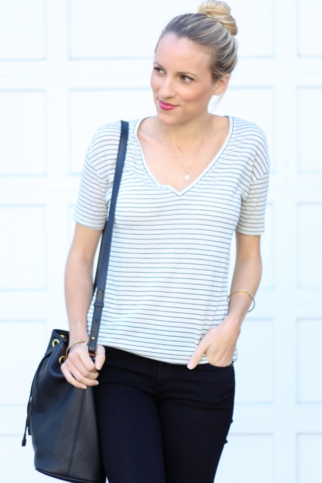 Striped V Neck