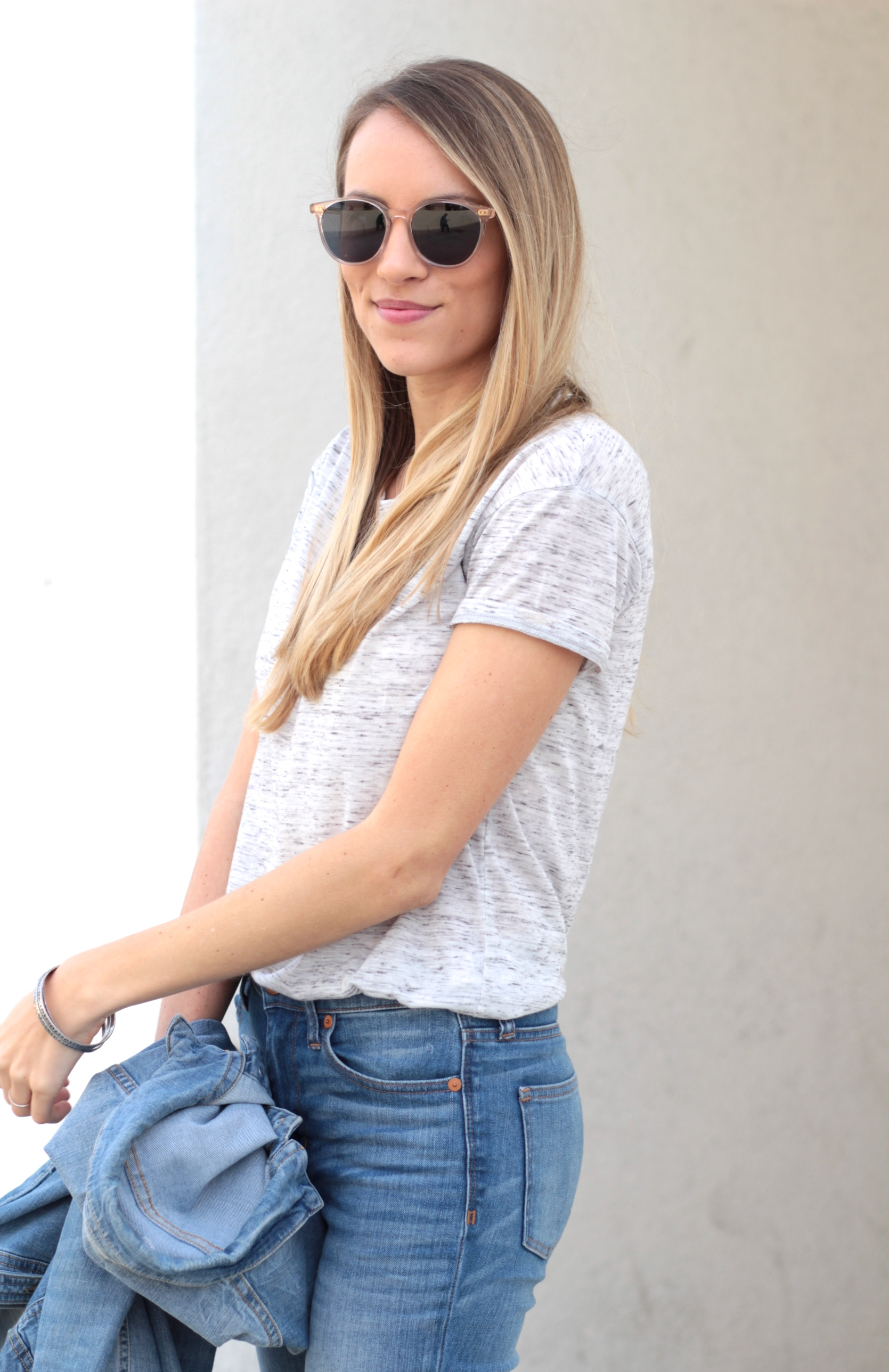 Bella Luxx Marbled Crew Neck Tee + Toms sunglasses | Adorned With Love