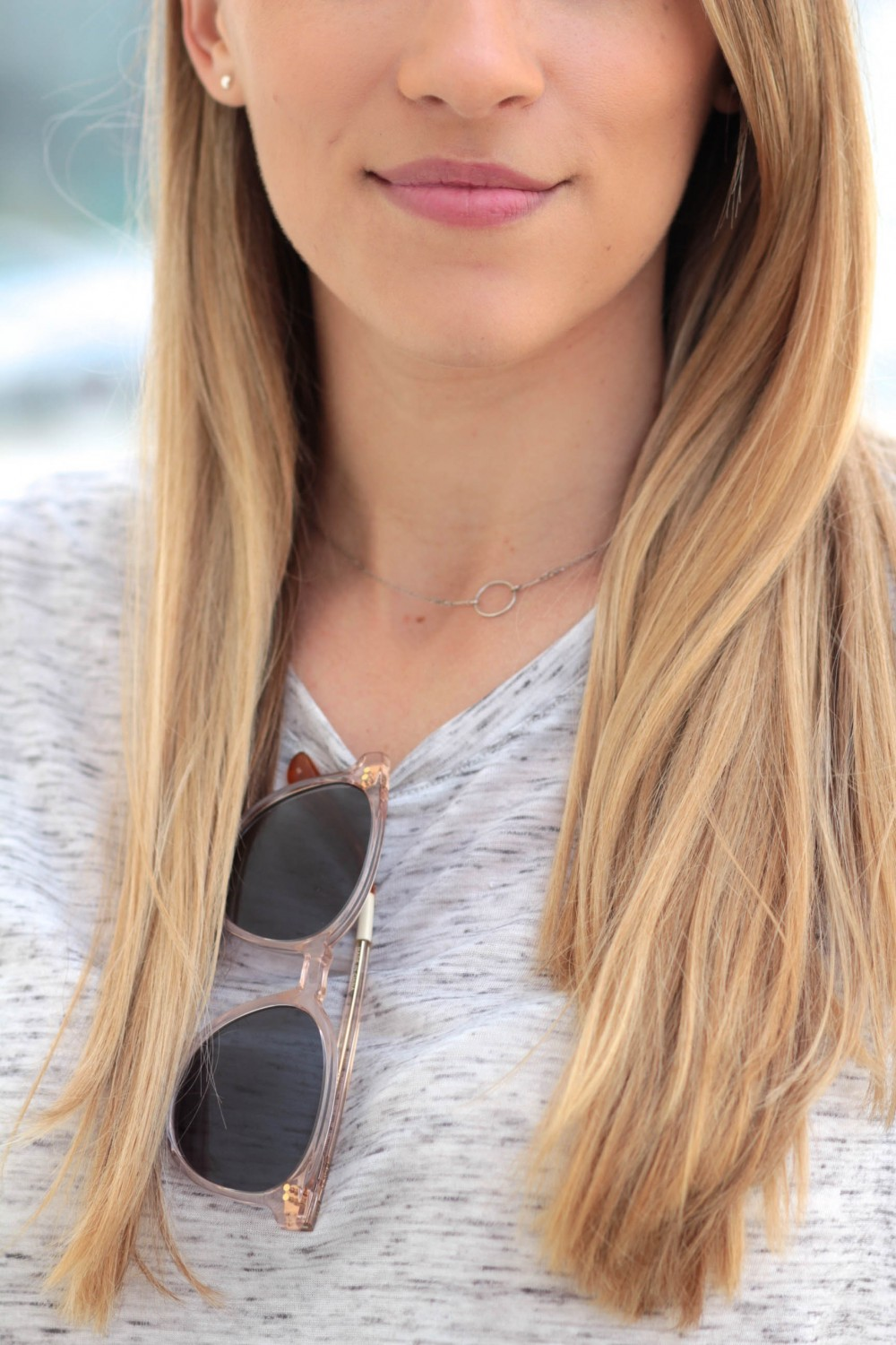 Bella Luxx Marbled Crew Neck Tee + Toms sunglasses   Adorned With Love